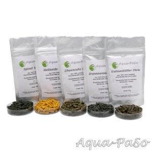 Spinat, Hokkaido, Löwenzahn, Brennnessel, Walnussblätter Sticks, Aqua-Paso Shrimp Fedd-Bundles